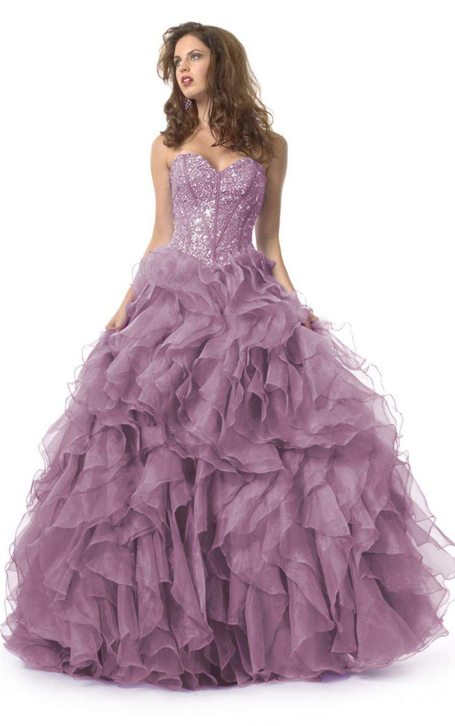 Сиреневое бальное платье