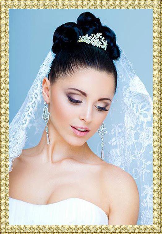 Свадебная прическа с челкой фото - 0fe82